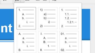 La numérotation dans les Google Docs